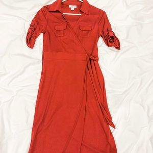 Loft red wrap dress size 4p